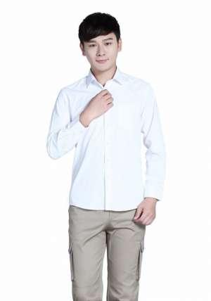 全棉白色商务长袖衬衫